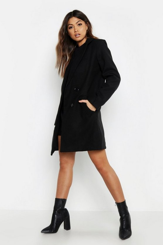 Black Pocket Detail Tailored Wool Look Coat