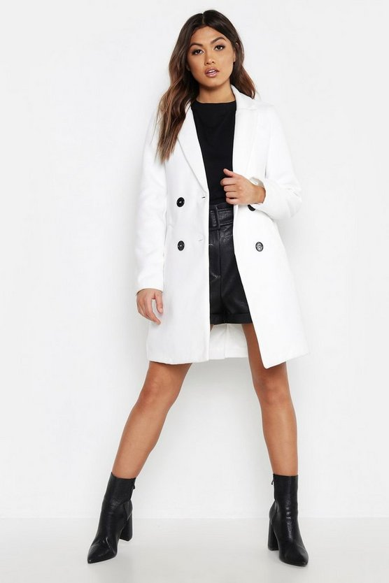 Ivory Pocket Detail Tailored Wool Look Coat