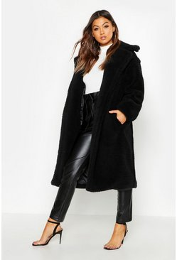 Black Oversized Teddy Faux Fur Coat