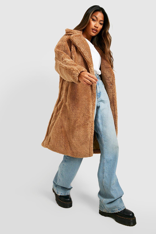 womens oversized teddy faux fur coat - beige - s