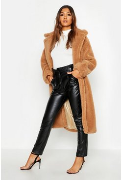Womens Camel Oversized Teddy Faux Fur Coat