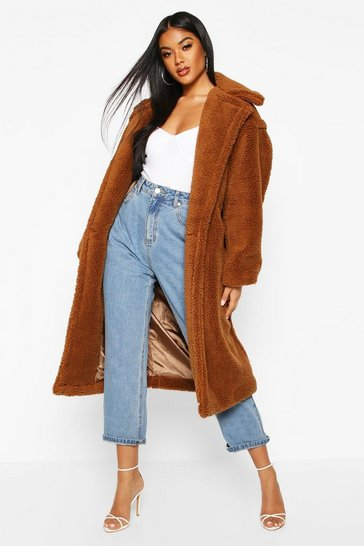 Womens Chocolate Oversized Teddy Faux Fur Coat