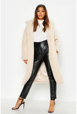 Womens Cream Oversized Teddy Faux Fur Coat