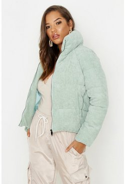 Womens Mint Cord Puffer Jacket