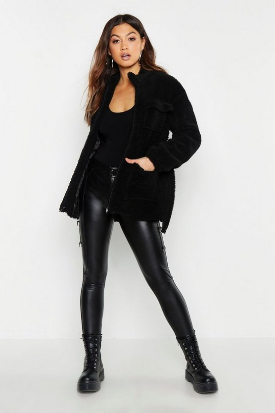 Belted Teddy Faux Fur Utility Jacket by Boohoo