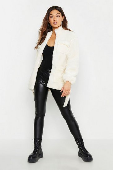 Womens Cream Belted Teddy Faux Fur Utility Jacket