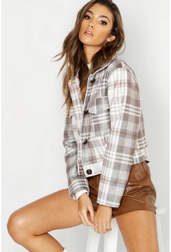 Womens Stone Check Wool Look Trucker