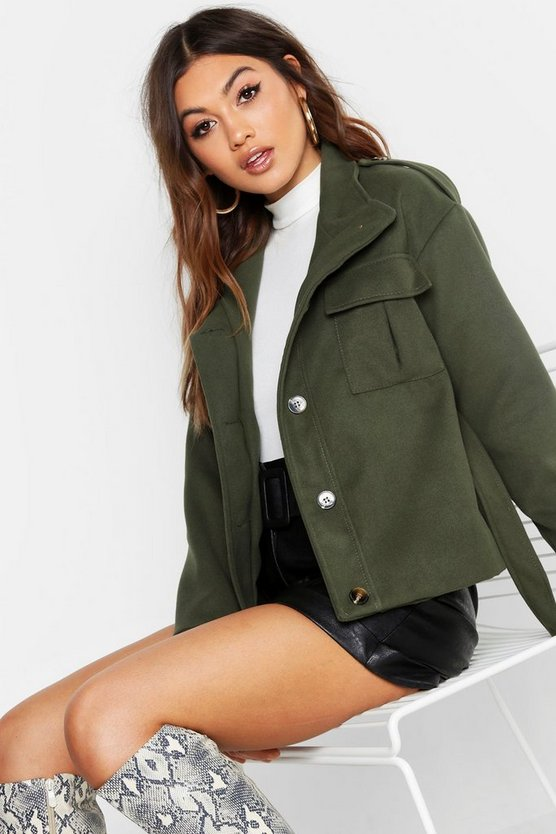 Belted Wool Look Utility Jacket