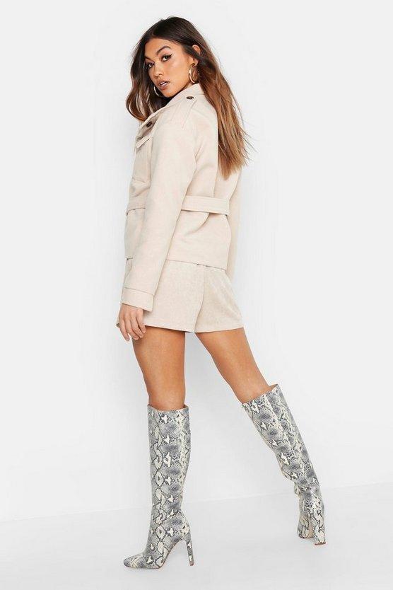 Belted Wool Look Utility Jacket