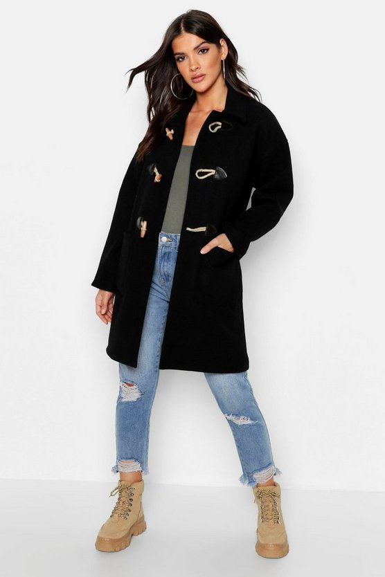 Womens Black Wool Look Duffle Coat
