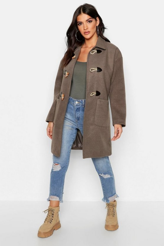 Womens Mocha Wool Look Duffle Coat