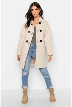 Womens Stone Wool Look Duffle Coat