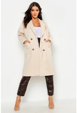 Womens Stone Oversized Double Breasted Wool Look Coat