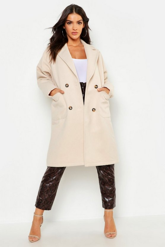 Womens Chocolate Oversized Double Breasted Wool Look Coat