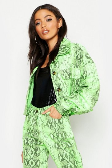 Womens Neon-green Neon Snake Trucker Jacket
