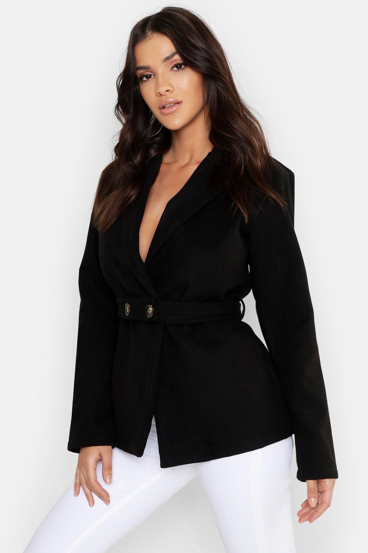 Button Belt Detail Wool Look Coat