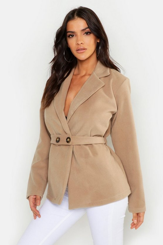 Womens Camel Button Belt Detail Wool Look Coat