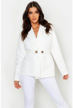 Womens Ivory Button Belt Detail Wool Look Coat