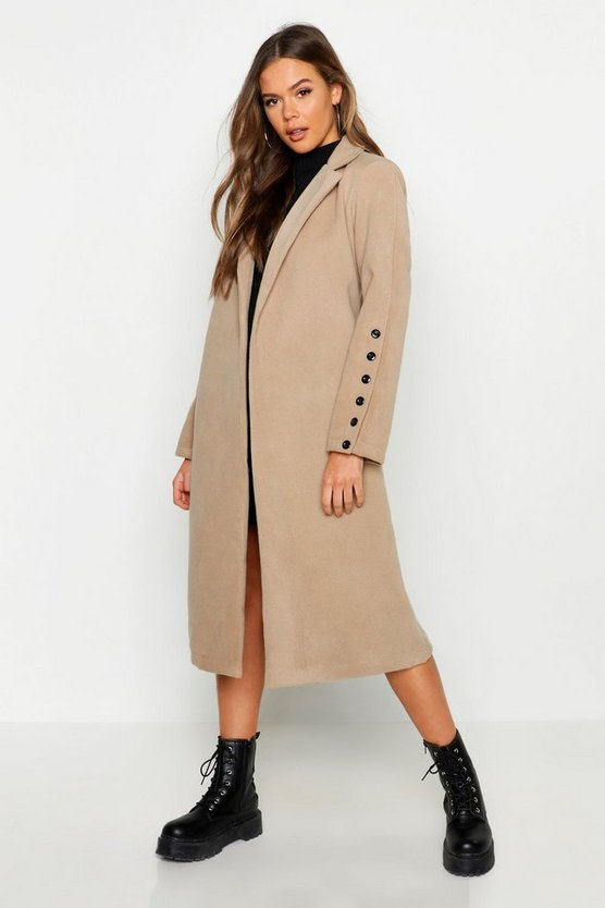 Camel Button Cuff Detail Wool Look Coat