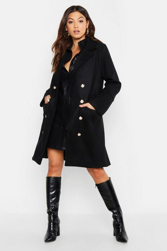 Womens Black Military Double Breasted Wool Look Coat