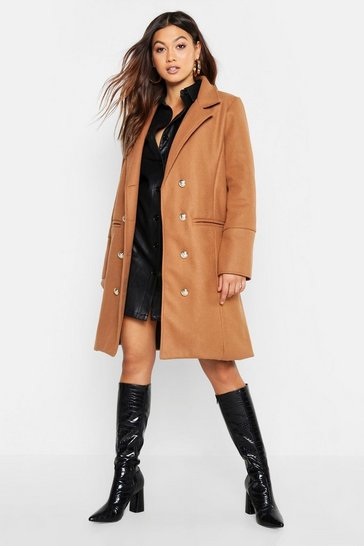 Womens Camel Military Double Breasted Wool Look Coat
