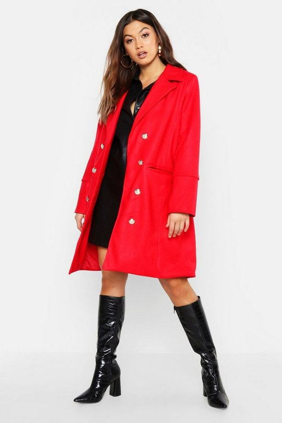 Red Military Double Breasted Wool Look Coat