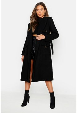 Womens Black Pocket Detail Wool Look Trench