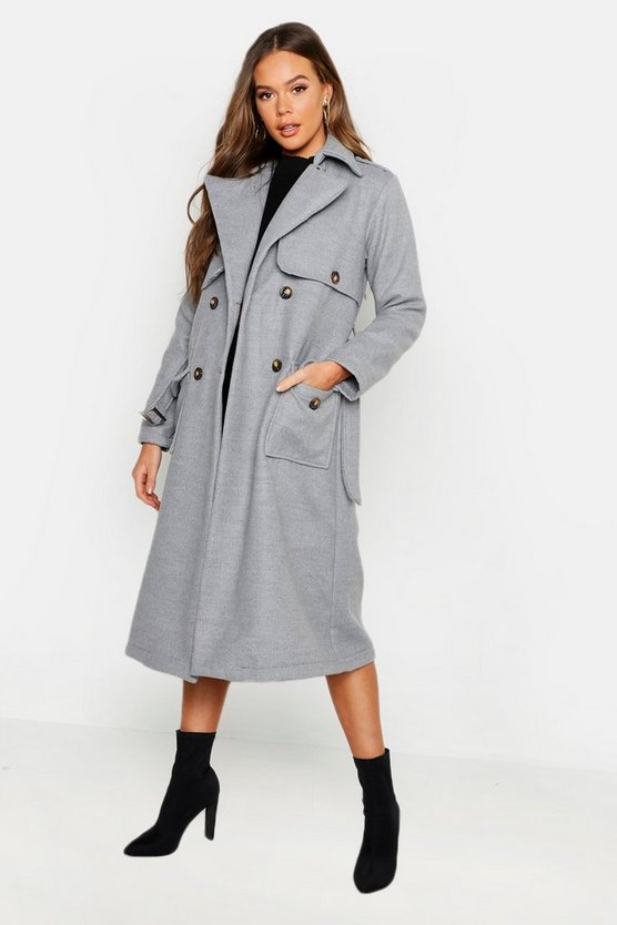 Womens Grey Pocket Detail Wool Look Trench