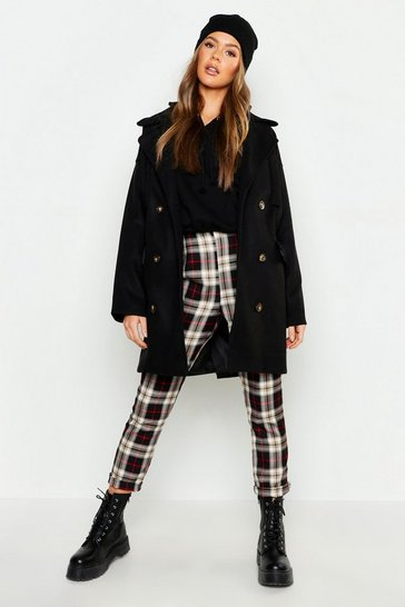 Womens Double Breasted Pocket Detail Wool Look Coat