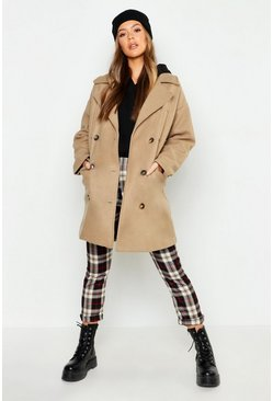 Womens Oatmeal Double Breasted Pocket Detail Wool Look Coat