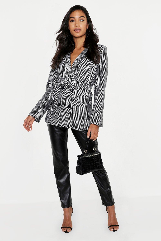 Herringbone Covered Buckle Tailored Wool Look Coat