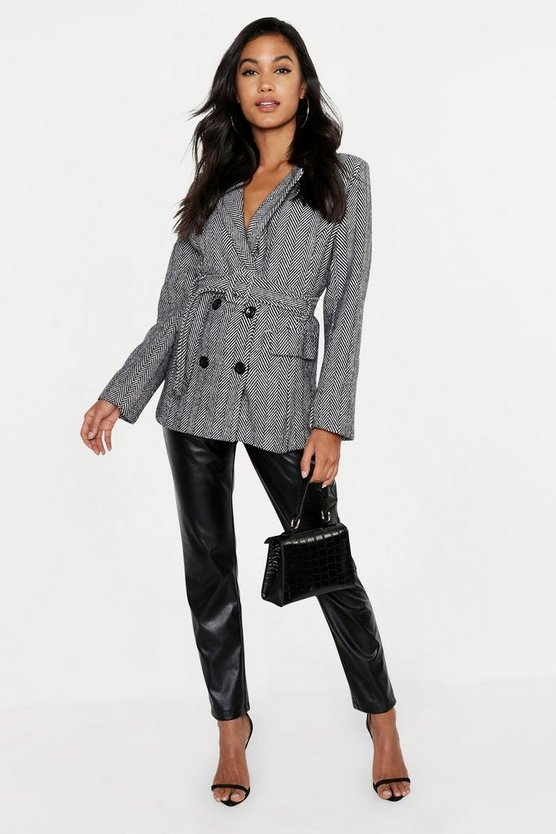 Herringbone Covered Buckle Tailored Wool Look Coat