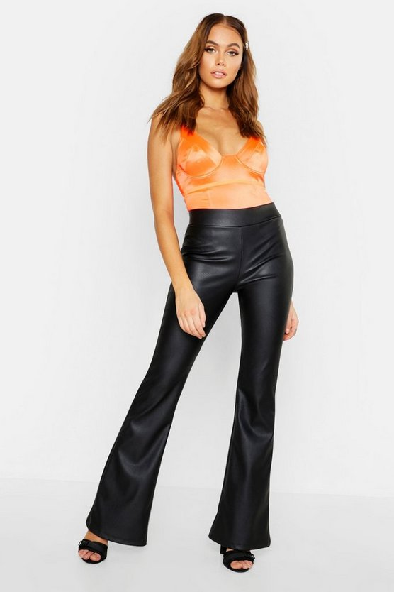 Faux Leather Flare Trouser