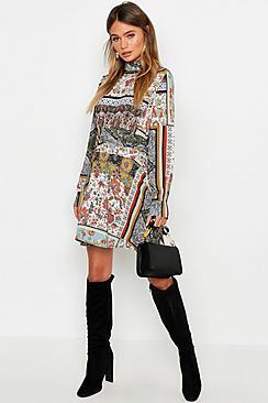 Ruched Neck & Waist A-Line Dress