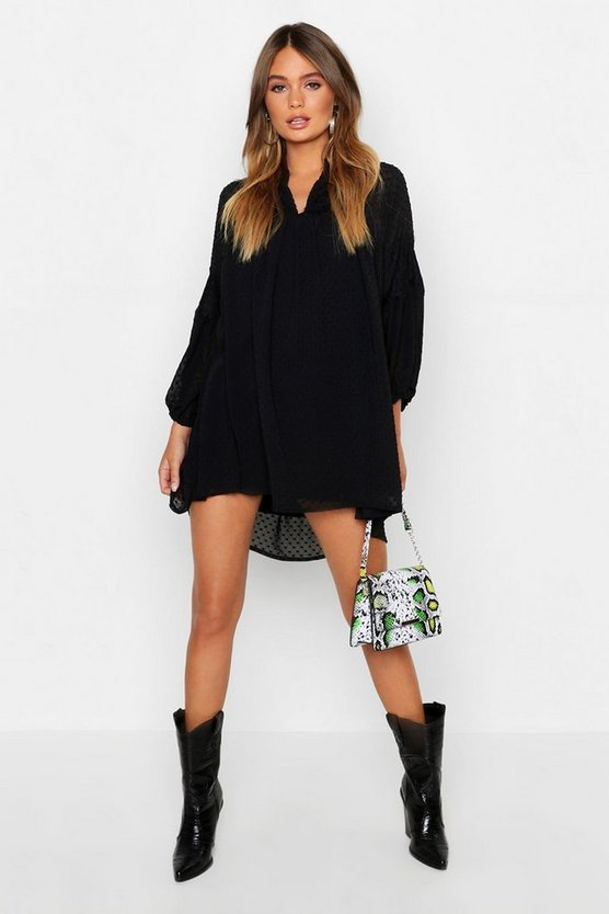 Womens Black Dobby Chiffon Blouson Sleeve Dress