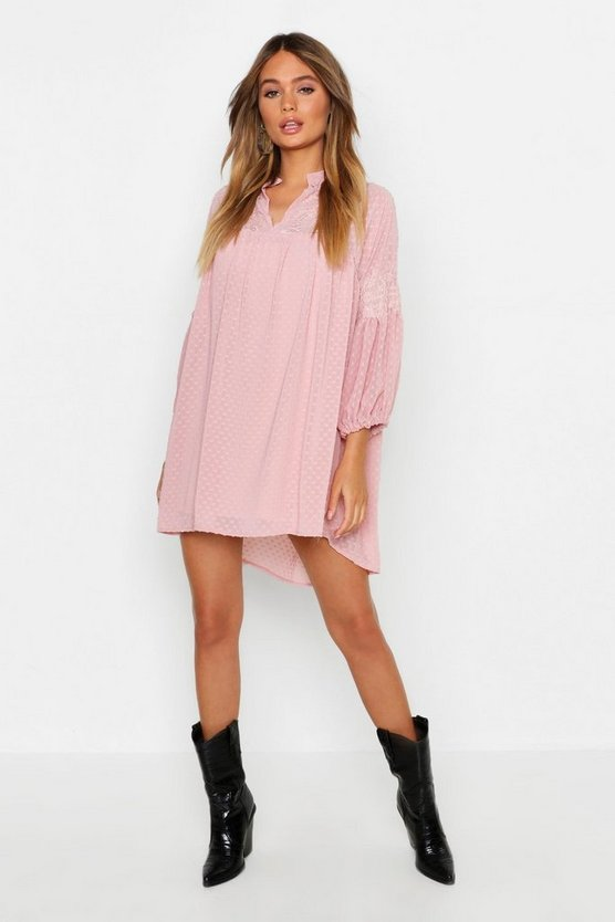 Dobby Chiffon Blouson Sleeve Dress