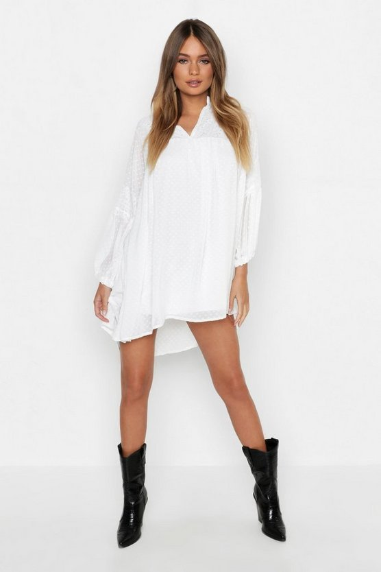 Womens White Dobby Chiffon Blouson Sleeve Dress