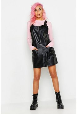 Womens Black Faux Leather Pocket Pinafore Dress