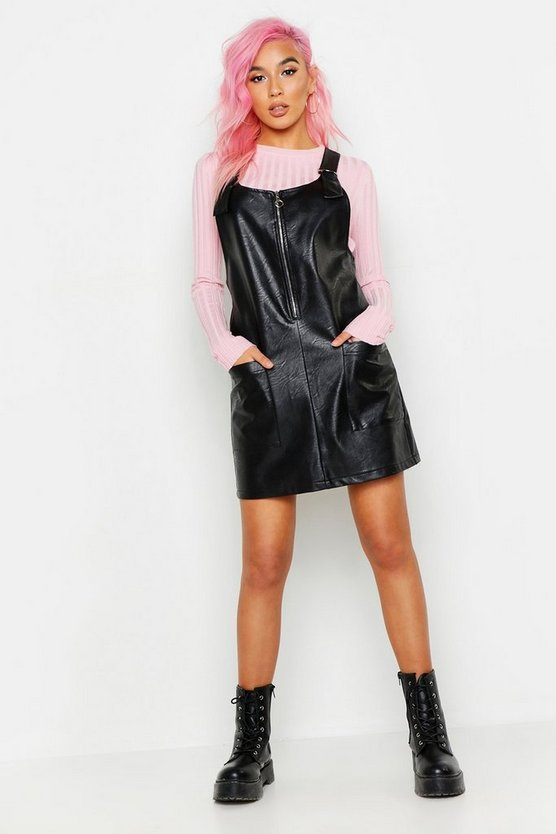 Faux Leather Pocket Pinafore Dress