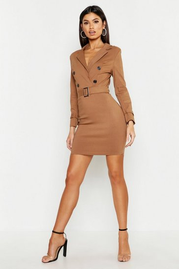 Womens Taupe Buckle Detail Blazer Dress