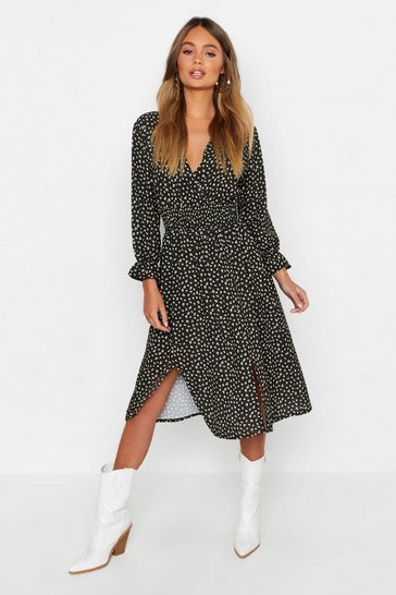 Black Boho Ditsy Floral Split Front Midi Dress