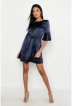 Womens Midnight Satin Drawcord Waist Skater Dress