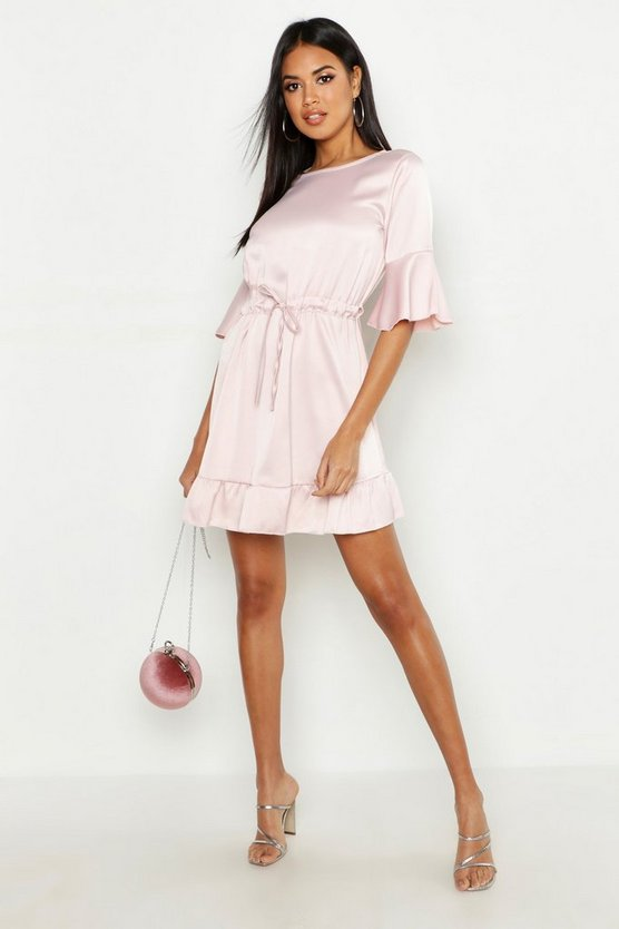 Womens Pink Satin Drawcord Waist Skater Dress