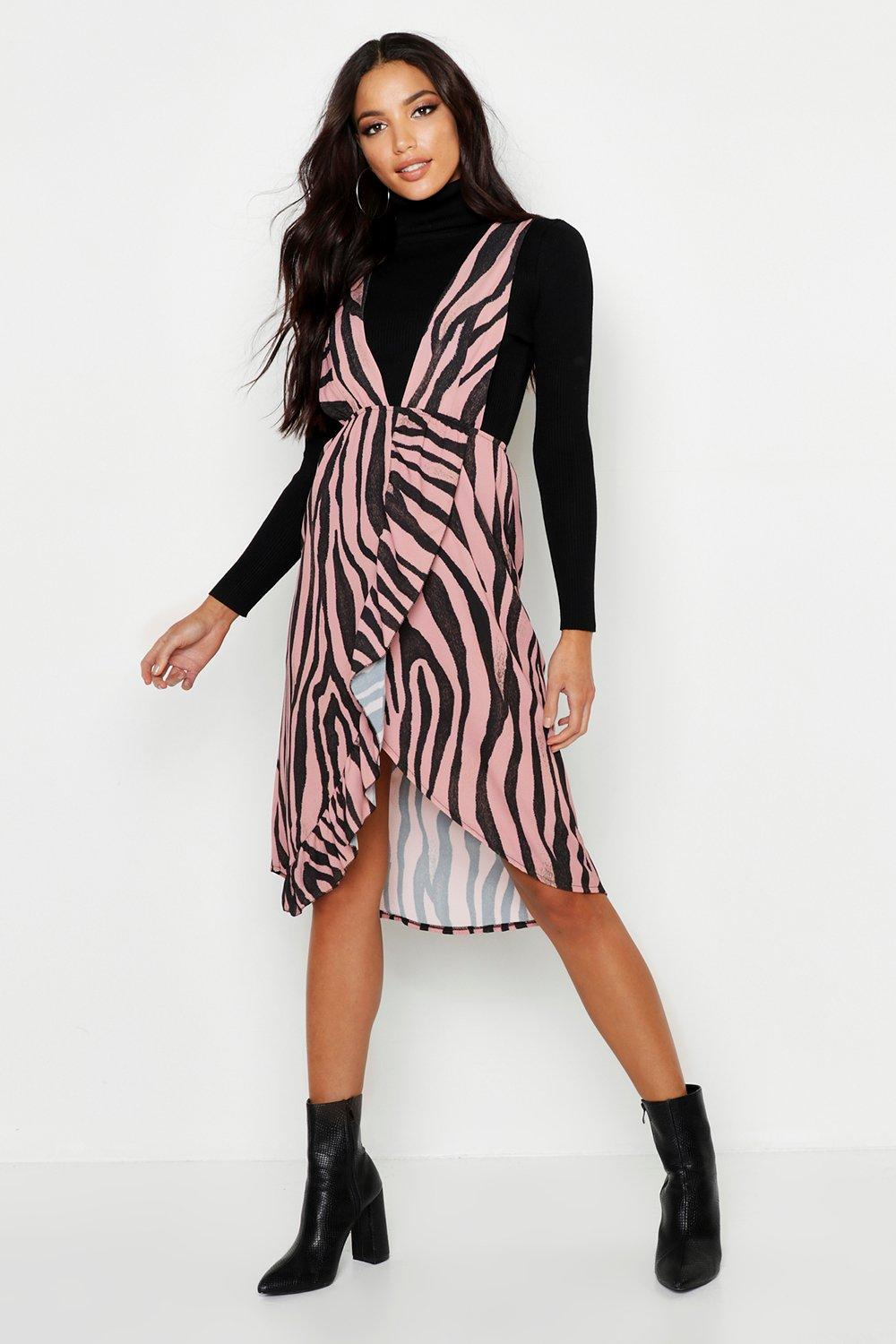 Tiger Plunge Front Ruffle Detail Dress
