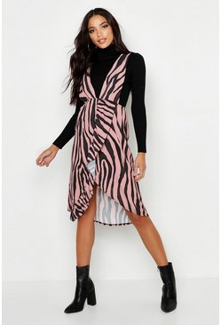 Womens Pink Tiger Plunge Front Ruffle Detail Dress