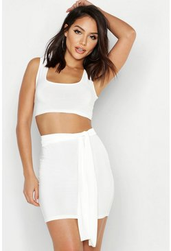 Womens Ecru Tie Detail Slinky Mini Skirt Co-Ord