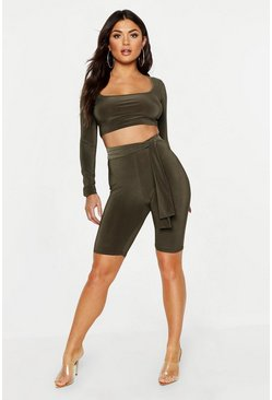 Womens Khaki Tie Detail Cycle Short & Long Sleeve Co-Ord