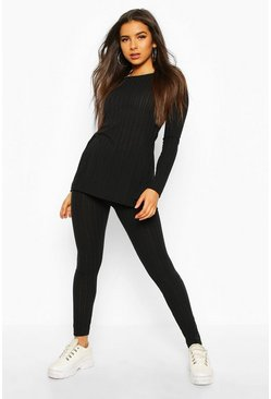 Ensemble top long côtelé et legging assorti, Noir, Femme