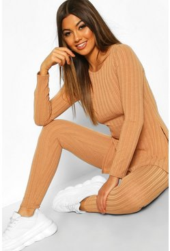 Womens Camel Longline Rib Top & Legging Co-Ord