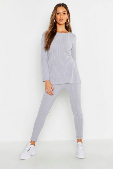 Womens Grey Longline Rib Top & Legging Co-Ord